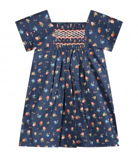 Blue dress for babygirl with flowers
