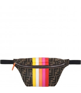 Brown bum-bag for girl with colorful stripes