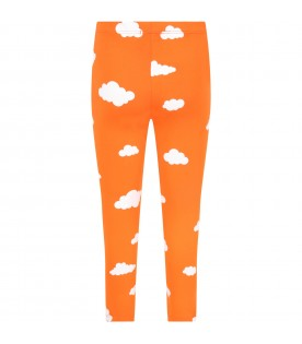 Orange leggings for kids with clouds