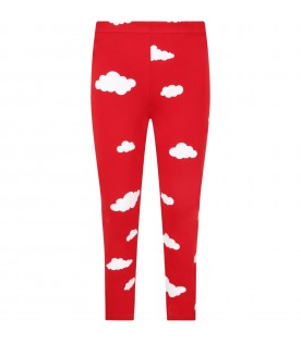 Red leggings for kids with clouds