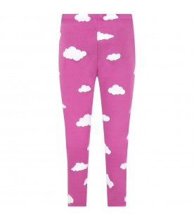 Purple leggings for kids with clouds