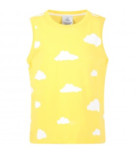 Yellow tank top for kids with clouds