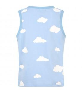 Light blue tank top for kids with clouds