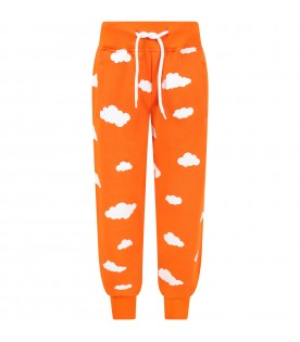 Orange sweatpant for kids with clouds