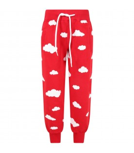 Red sweatpant for kids with clouds