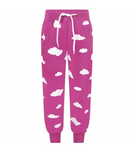 Purple sweatpant for kids with clouds
