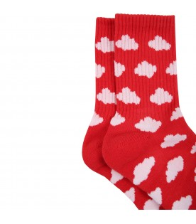 Red socks for kids wth clouds