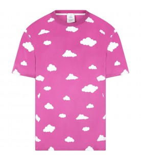Purple T-shirt  for adults with clouds