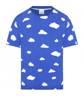 Blue t-shirt for adults with clouds