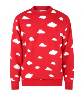 Red sweatshirt for adults with clouds