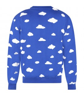 Blue sweatshirt for adults with clouds