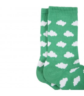 Green socks for adults wth clouds