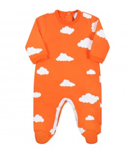 Orange suit for babykids with clouds