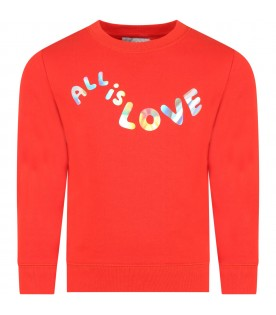 Red sweatshirt for girl with writing
