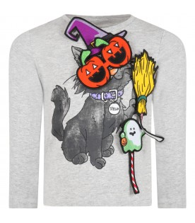 Grey t-shirt for kids with cat