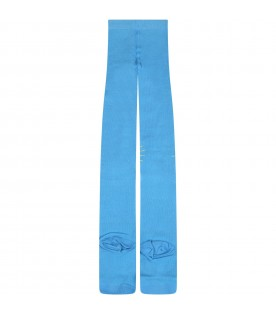 Light blue tights for girl with sun