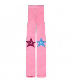 Pink tights for girl with stars
