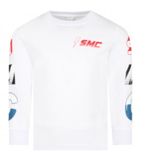 White t-shirt for boy with logos