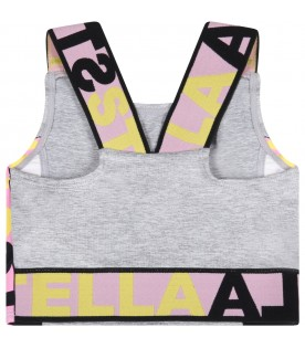 Grey top for girl with logos