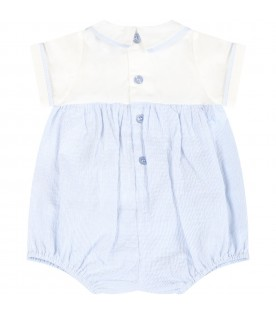 Light blue romper for baby boy with logo
