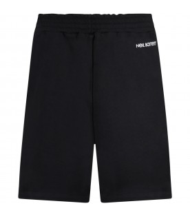 Black short for boy with colorful thunders