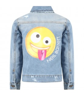 Light blue jacket for boy with emoticon
