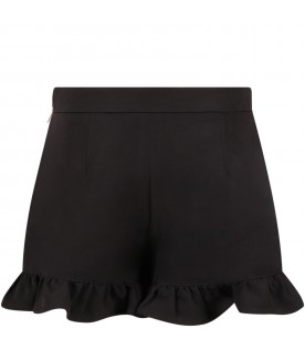 Black shorts for girl with logo