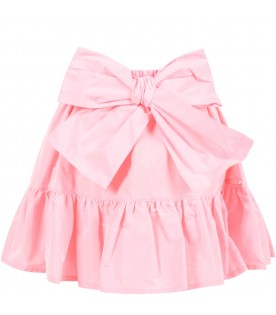 Pink skirt for girl with bow
