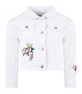 White jacket for girl with patches