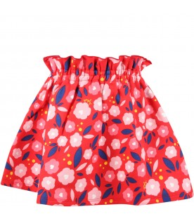 Red skirt for girl with flowers