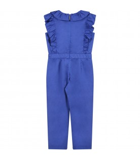 Blue jumpsuit for girl with logo