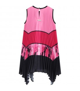 Multicolor dress for girl with logo