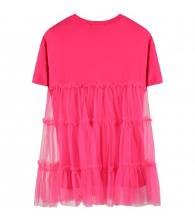 Fuchsia dress for girl with logo