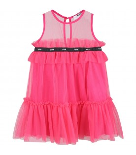 Fuchsia dress for girl with logos