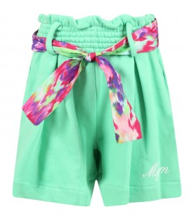 Green short for girl with logo