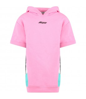 Pink maxi-sweatshirt with logo for girl