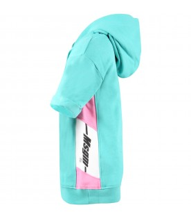 Green maxi-sweatshirt with logo for girl