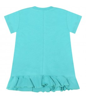 Aquamarine dress for baby girl with logo