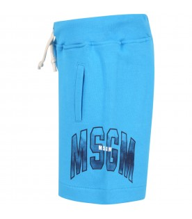 Blue short with logo for boy