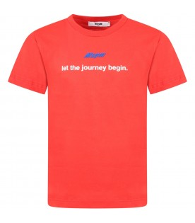 Red t-shirt with logo for boy