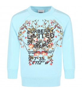 Light blue sweatshirt for girl with flowers