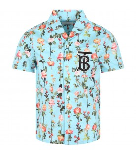 Light blue shirt for boy with flowers