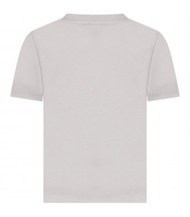 Grey t-shirt for kids with flowers