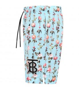 Light blue short for kids with flowers