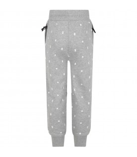 Grey sweatpants for girl with logos