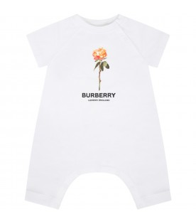 White romper for babygirl with rose