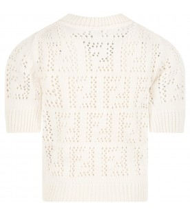 Ivory sweater for kids with double FF