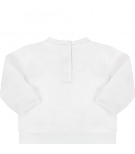 Ivory sweatshirt for babykids with logo