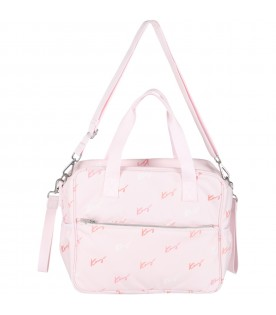 Pink changing bag for babygirl with logos