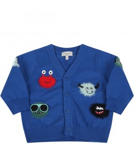 Blue cardigan for babyboy with monsters